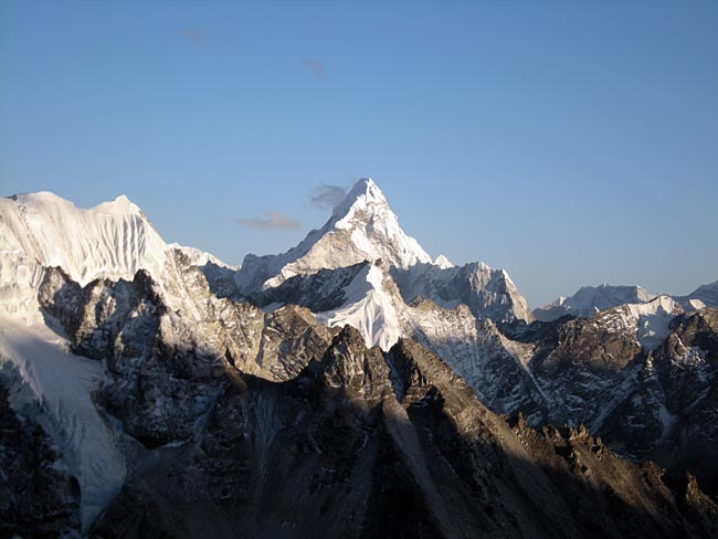 A rare view of Ama Dablam from Pumori Camp 1 (photo: Eric Simonson)