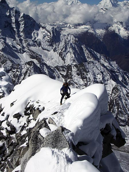Climber on Ama Dablam's Ridge Route (photo: Justin Merle)