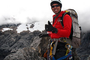 IMG guide Jason Edwards leading a Carstensz Pyramid climb