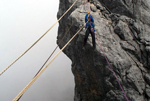 Tyrolean Traverse on the Carstensz Pyramid climb with International Mountain Guides