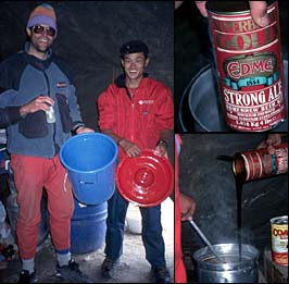 The IMG 1996 Cho Oyu team tries a little home brewing at 15,000 feet