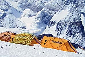 Eureka tents at Camp 5 on the North Side of Everest. Photo by Dave Hahn.