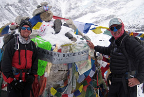 International Mountain Guides climbers John and Ryan Dahlem in Everest base camp