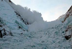 Avalanche in the Khumbu Icefall