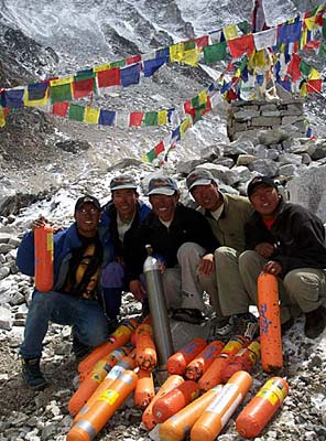 International Mountain Guides Sherpas with a variety of oxygen bottles they've brought off the mountain.