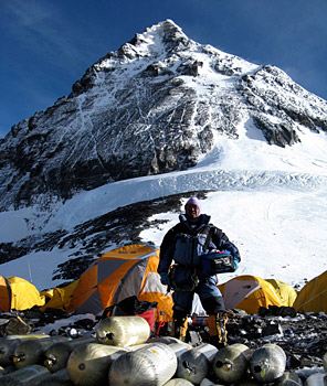 Panuru Sherpa at the South Col with an IMG Adventure Medical Kit. Photo by Justin Merle.