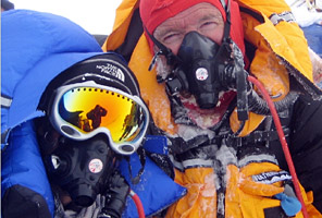 International Mountain Guides climbers John and Ryan Dahlem on the summit of Everest