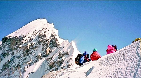 Climbers on the South Summit of Everest