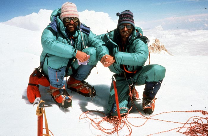 Phil Ershler and Ed Viesturs on the summit of Kangchenjunga, 1989