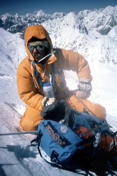 Phil Ershler on the North Col descending from the summit of Everest in 1984