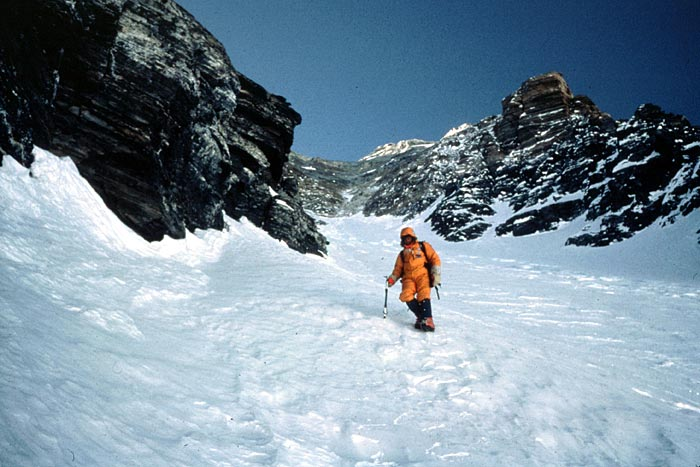 Phil Ershler descending from the summit of Everest in 1984
