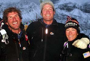 IMG guides Dave Hahn, Ben Marshall, and Lisa Rust on Everest