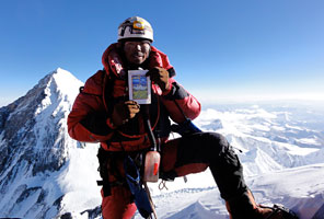 IMG sherpa Chhewang Lendu on the summit of Lhotse