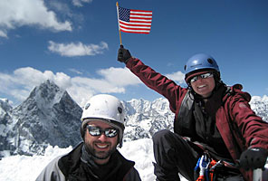IMG climbers on the summit of Lobuche Peak, Nepal