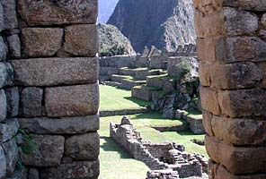 View through the Inca ruins at Machu Picchu