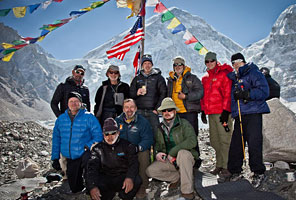 IMG Nepal trekkers in Everest Base Camp. (Photo by Adam Angel)