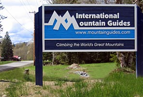Sign at the turnoff to IMG headquarters in Ashford, WA at the base of Mt. Rainier