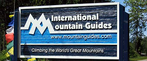 International Mountain Guides new sign at their headquarters in Ashford, WA at the base of Mt. Rainier
