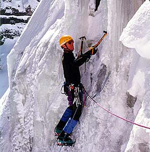 International Mountain Guides director George Dunn leading an ice climbing seminar in Ouray, Colorado