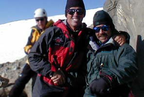 International Mountain Guides directors George Dunn and Phil Ershler on the summit of Mt Rainier on Ershlers 400th summit.