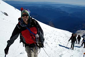 International Mountain Guides director Eric Simonson leads a Mt Rainier Climb