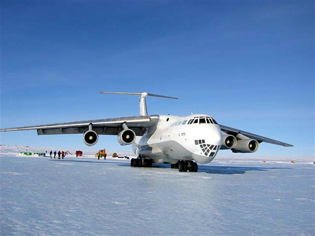 The Vinson expedition begins on a big Russian Ilyushin cargo plane used to transport climbers and gear from Punta Arenas to the blue ice runway of Patriot Hills (Photo: Brien Sheedy)