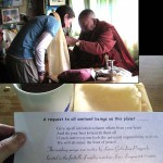 Lama Geshe of Pangboche offers blessings to an IMG climber (photo: Rachel Consolini)