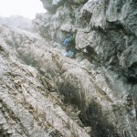 One of the many rappels to get back down from the summit of Carstensz (Photo by Eric Simonson)