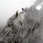 The Tyrolean Traverse on the summit ridge (Photo by Jim Walkley)