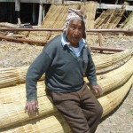 Aymara reed boat builder at Lake Titicaca. (Photo by Greg Vernovage)