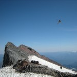 Helicopter over Camp Muir. (Eric Simonson)