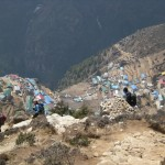 Hiking back down to Namche from the small airstrip at Syangboche .