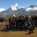 Team shot from up near Everest View Hotel, above Syangboche. (Photo by Justin Merle)