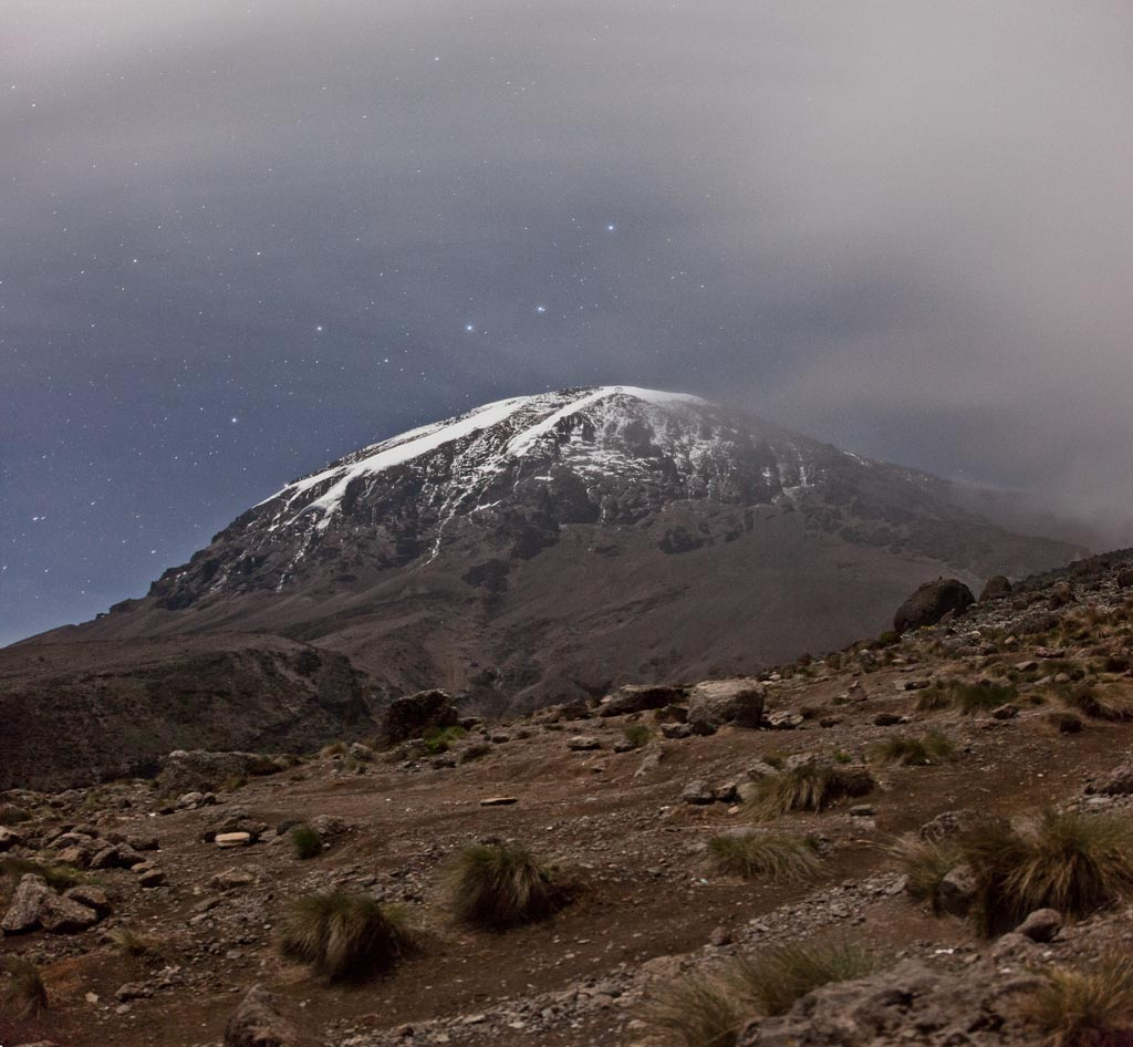 The view of Kili after dinner at Karanga Camp.  Good climbing weather!  (Photo by Adam Angel)