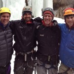 Hanging in Ouray. (left to right) Perry, guides Max Bunce, George Dunn and Justin Merle
