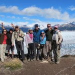 L to R: Hagen, Tadeo, Tye, April, Bill, Nola, Doug, Laurie. Grey glacier in background.  (Photo: Tye Chapman)