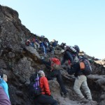 Climbing the steep place on the Barranco Wall (Eben Reckord)