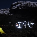 Playing with headlamps at Barranco Camp (Eben Reckord)