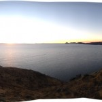 Panorama of Lake Titicaca with Sun Island on the right and Peru in the distance