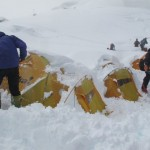 Digging out the tents at C1 (Phunuru Sherpa)