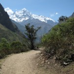 Hitting the trail with the Andes as a spectacular backdrop.