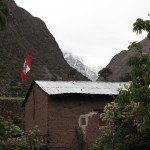 The Peruvian flag flying high on a house near our tent camp at Llullchapampa.