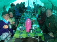 IMG climbers in the dining tent  (Chris Meder)