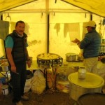 Kaji in the cook tent.