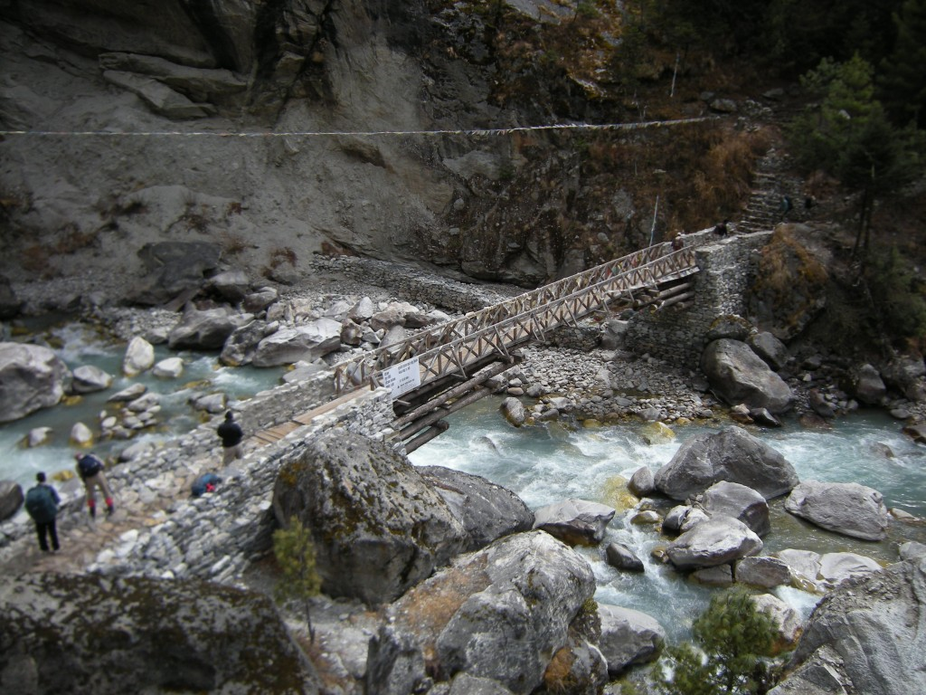 Crossing the Dudh Kosi at Phunki, below Tengboche  (Eric Simonson)