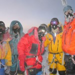 Mingma Tenzing, Nima Karma, Agnaldo, Mark, and Jerry on the summit at sunrise