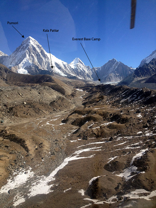 Looking north from a helicopter from near Lobuche village up the valley towards Everest Base Camp  (Ang Jangbu Sherpa)