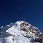 Climbers heading up the summit ridge on Lobuche Peak