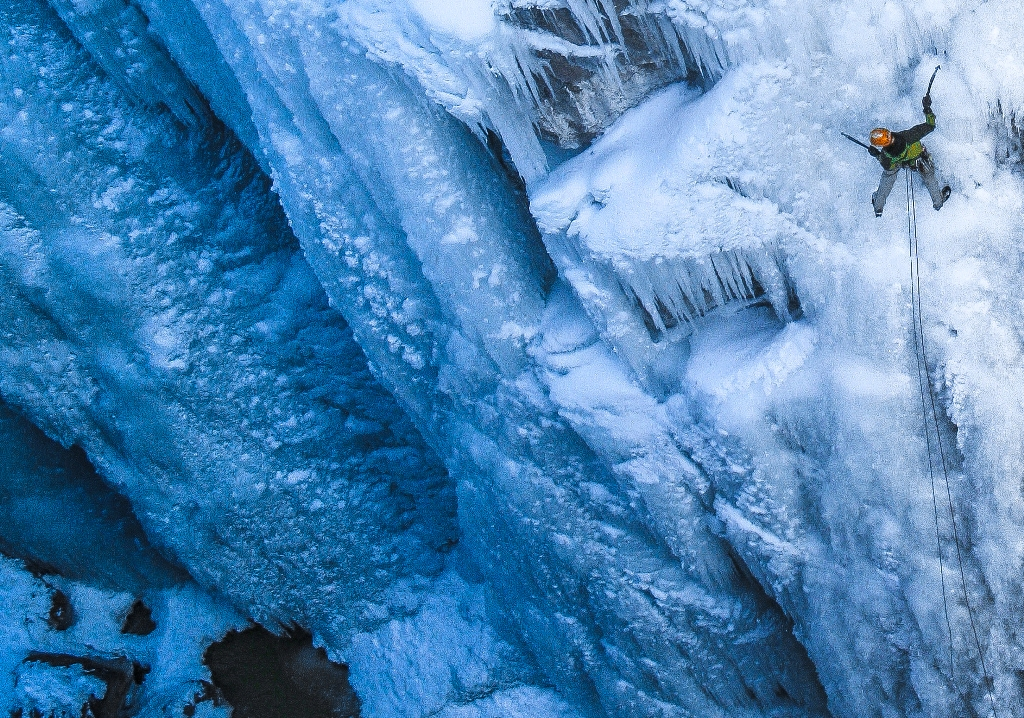 "2011 Mark Allen leading ""Abridgment"" WI4+ in the Ouray Ice Park. (Photo Tyler Jones)"