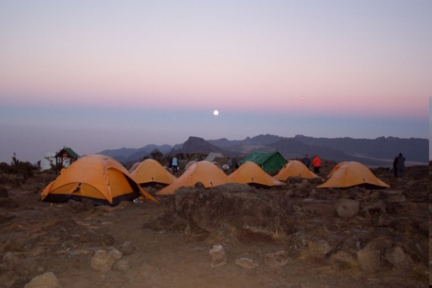Sunset from Shira Camp with the Plateau and Cathedral Peaks in the background (Eric Simonson)